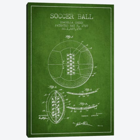 Soccer Ball Green Patent Blueprint Canvas Print #ADP2226} by Aged Pixel Art Print
