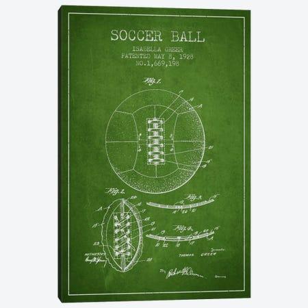 Soccer Ball Green Patent Blueprint Canvas Print #ADP2226} by Aged Pixel Art Print