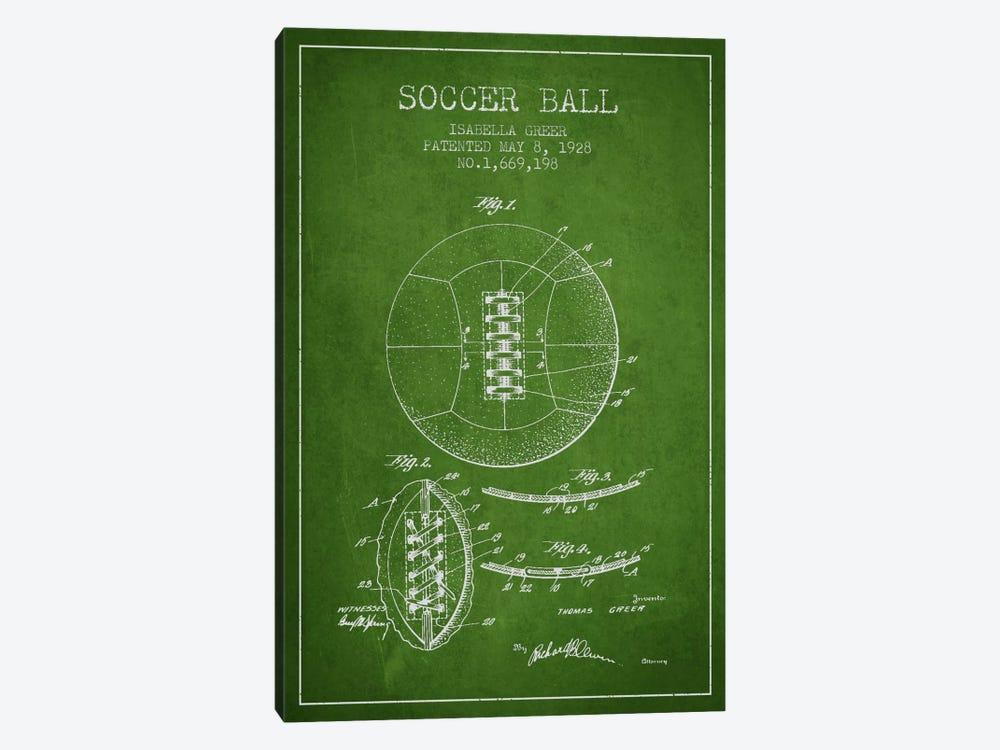 Soccer Ball Green Patent Blueprint by Aged Pixel 1-piece Canvas Art Print