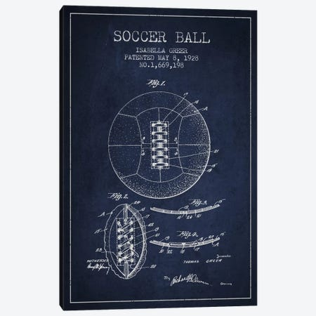 Soccer Ball Navy Blue Patent Blueprint Canvas Print #ADP2227} by Aged Pixel Art Print