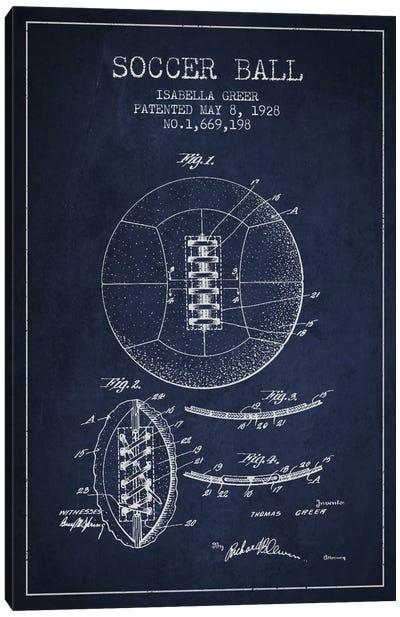 Soccer Ball Navy Blue Patent Blueprint Canvas Print #ADP2227