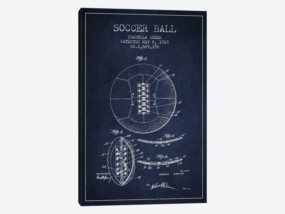 Soccer Ball Navy Blue Patent Blueprint by Aged Pixel 1-piece Canvas Artwork