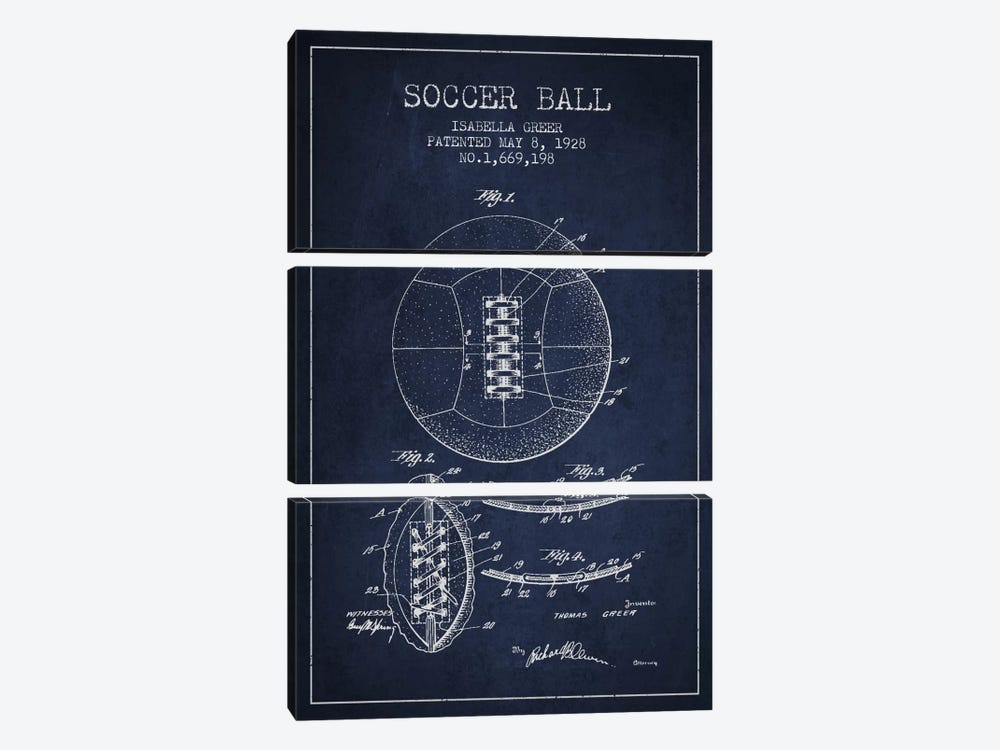 Soccer Ball Navy Blue Patent Blueprint by Aged Pixel 3-piece Canvas Art