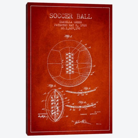 Soccer Ball Red Patent Blueprint Canvas Print #ADP2228} by Aged Pixel Canvas Artwork