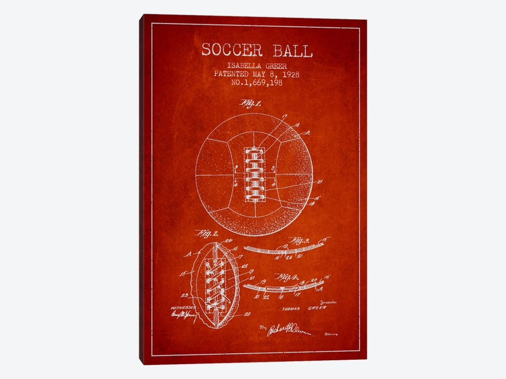 Soccer Ball Red Patent Blueprint 1-piece Art Print