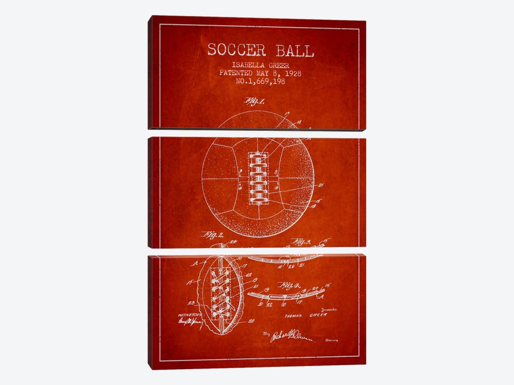 Soccer Ball Red Patent Blueprint by Aged Pixel 3-piece Canvas Print