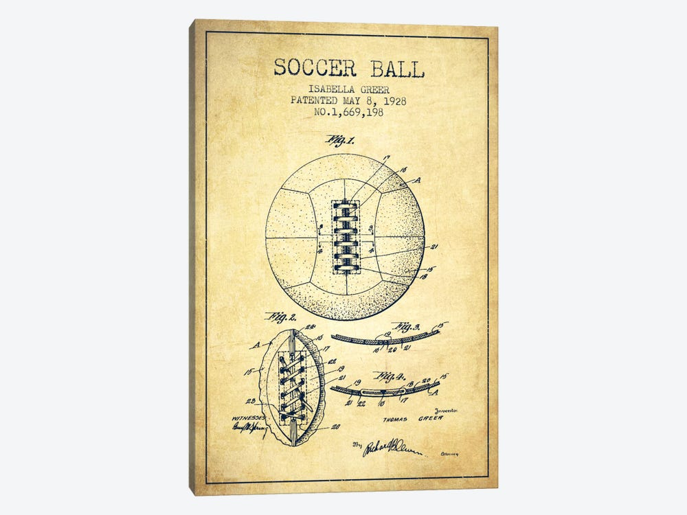 Soccer Ball Vintage Patent Blueprint by Aged Pixel 1-piece Canvas Artwork