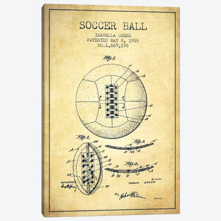 Soccer Ball Vintage Patent Blueprint Canvas Print #ADP2229} by Aged Pixel Canvas Artwork