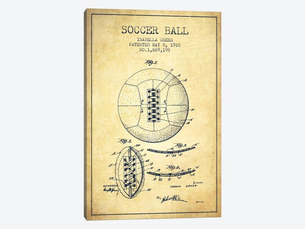 Soccer Ball Vintage Patent Blueprint by Aged Pixel 1-piece Canvas Artwork