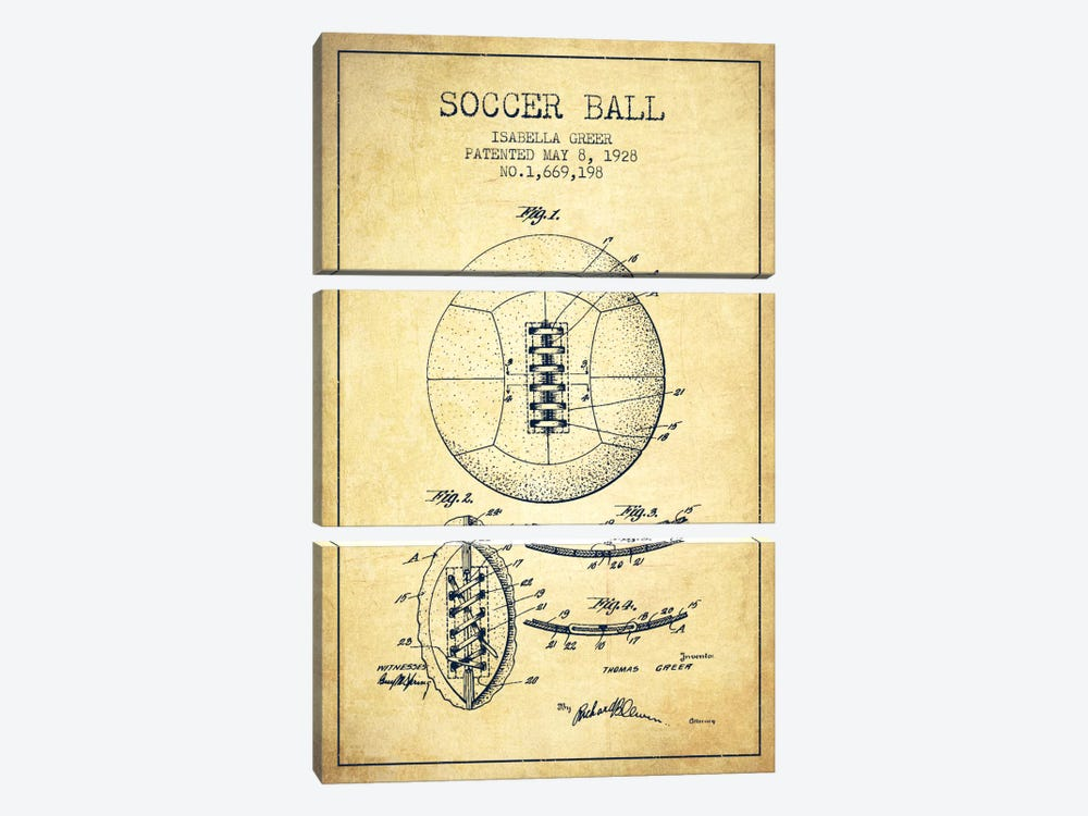 Soccer Ball Vintage Patent Blueprint by Aged Pixel 3-piece Canvas Artwork