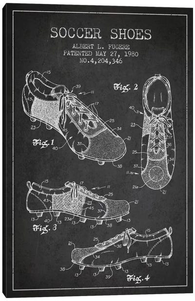 Soccer Shoe Charcoal Patent Blueprint Canvas Art Print