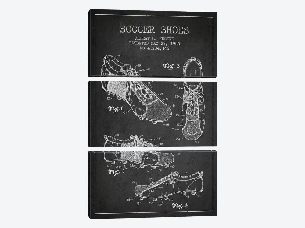Soccer Shoe Charcoal Patent Blueprint by Aged Pixel 3-piece Canvas Art