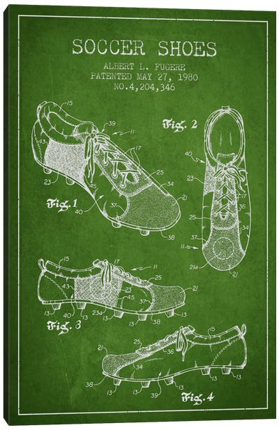 Soccer Shoe Green Patent Blueprint Canvas Art Print