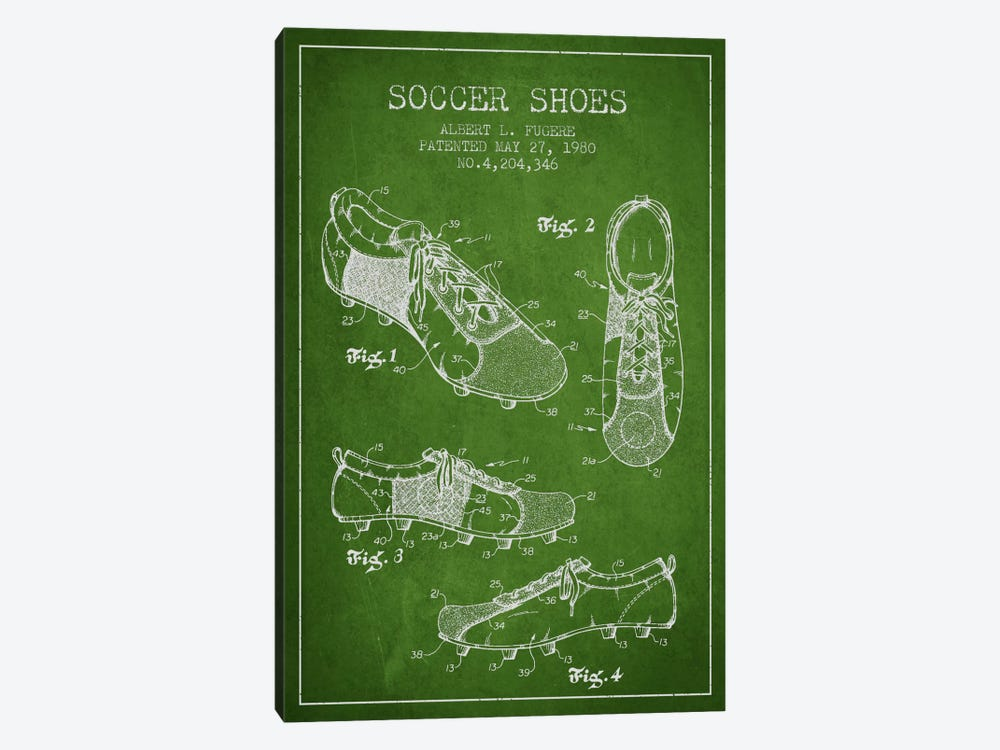 Soccer Shoe Green Patent Blueprint by Aged Pixel 1-piece Canvas Art Print