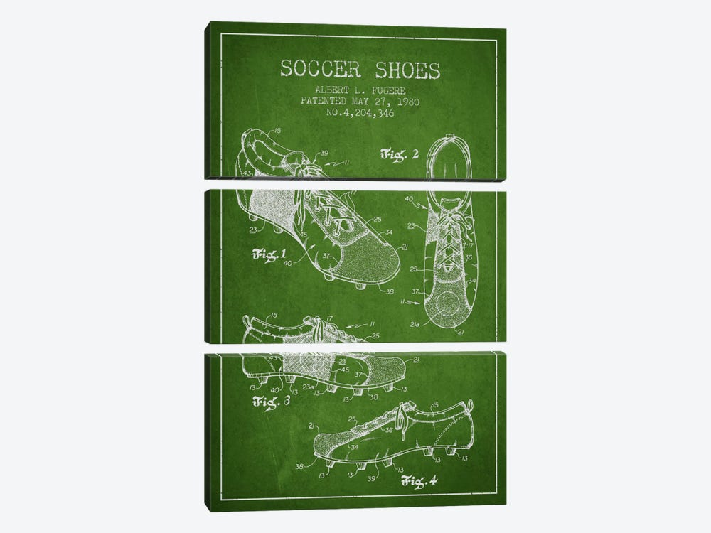 Soccer Shoe Green Patent Blueprint by Aged Pixel 3-piece Canvas Art Print