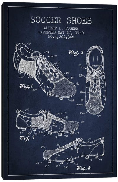 Soccer Shoe Navy Blue Patent Blueprint Canvas Art Print