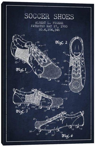 Soccer Shoe Navy Blue Patent Blueprint Canvas Print #ADP2232