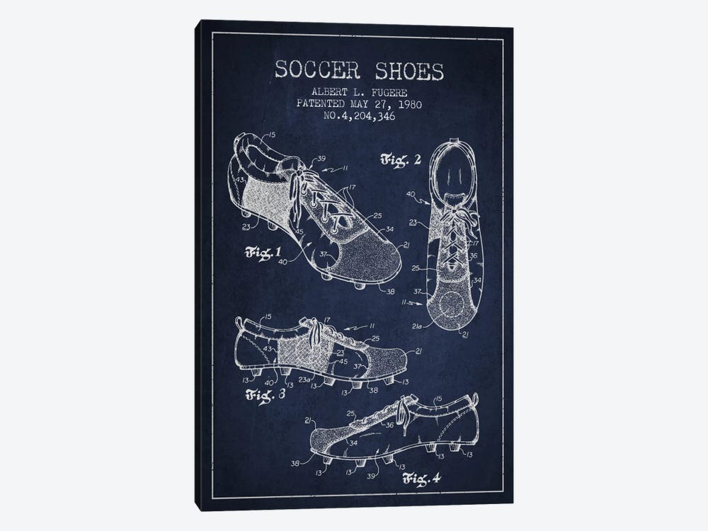 Soccer Shoe Navy Blue Patent Blueprint by Aged Pixel 1-piece Canvas Wall Art