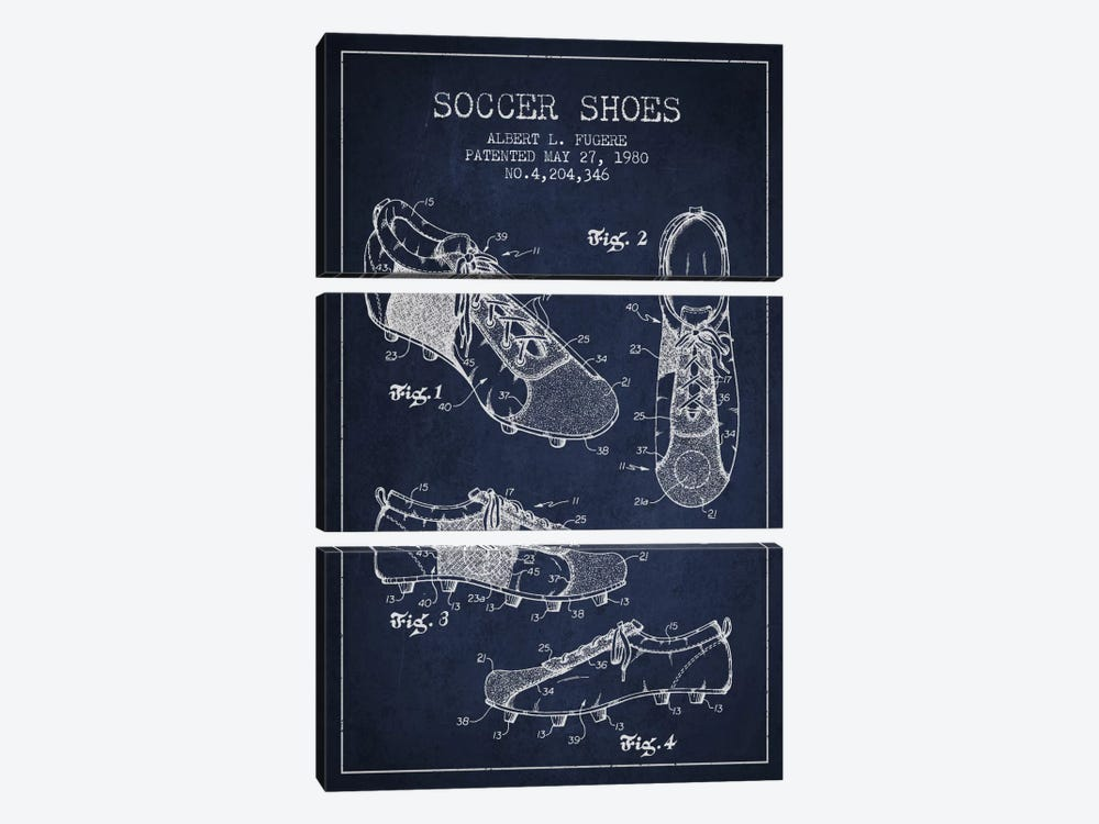 Soccer Shoe Navy Blue Patent Blueprint by Aged Pixel 3-piece Canvas Wall Art