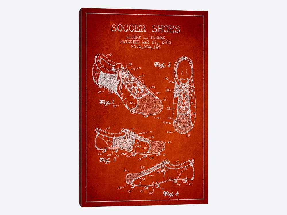 Soccer Shoe Red Patent Blueprint by Aged Pixel 1-piece Canvas Art Print