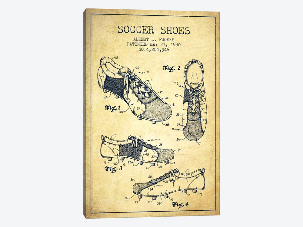 Soccer Shoe Vintage Patent Blueprint by Aged Pixel 1-piece Canvas Wall Art