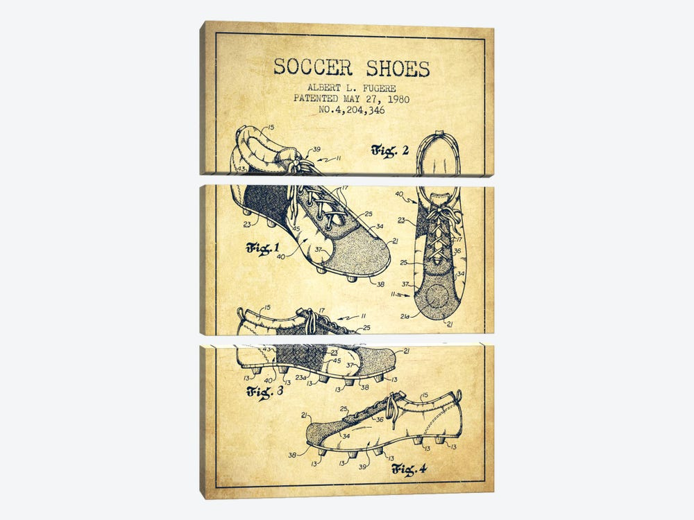 Soccer Shoe Vintage Patent Blueprint by Aged Pixel 3-piece Canvas Artwork