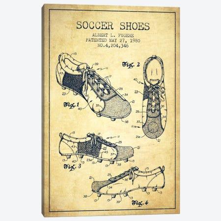 Soccer Shoe Vintage Patent Blueprint Canvas Print #ADP2234} by Aged Pixel Canvas Artwork