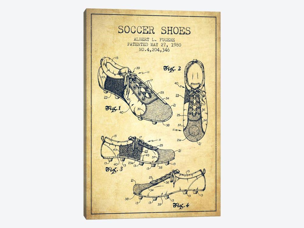 Soccer Shoe Vintage Patent Blueprint by Aged Pixel 1-piece Canvas Wall Art