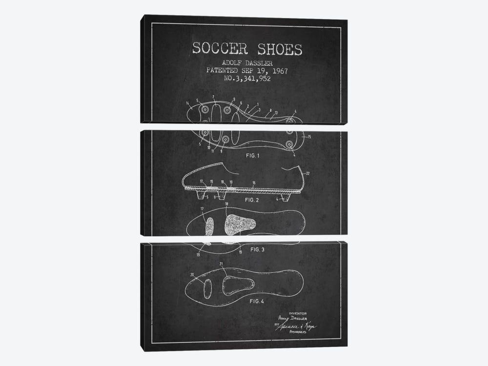 Soccer Shoe Charcoal Patent Blueprint by Aged Pixel 3-piece Canvas Art Print
