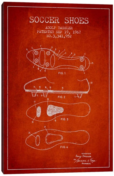 Soccer Shoe Red Patent Blueprint Canvas Art Print