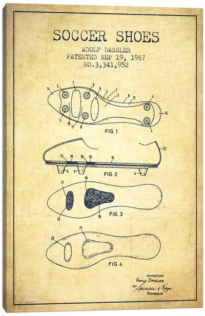 Soccer Shoe Vintage Patent Blueprint Canvas Print #ADP2239