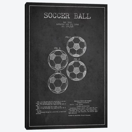 Soccer Ball Charcoal Patent Blueprint Canvas Print #ADP2240} by Aged Pixel Canvas Artwork