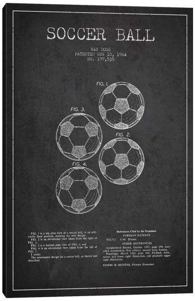 Soccer Ball Charcoal Patent Blueprint Canvas Art Print