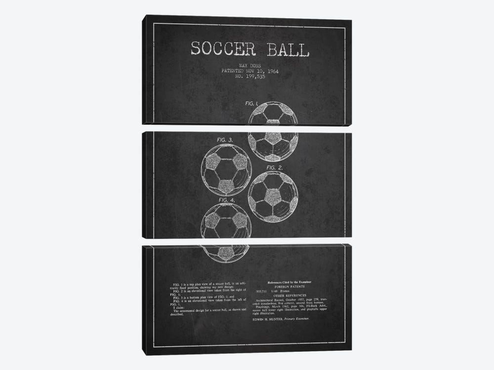 Soccer Ball Charcoal Patent Blueprint by Aged Pixel 3-piece Canvas Art Print