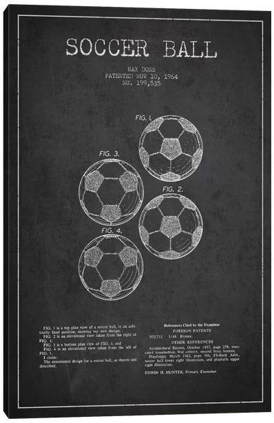 Soccer Ball Charcoal Patent Blueprint Canvas Art Print