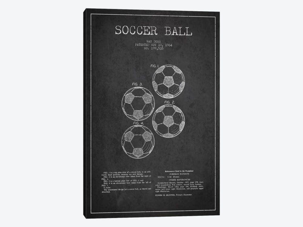 Soccer Ball Charcoal Patent Blueprint by Aged Pixel 1-piece Canvas Art Print