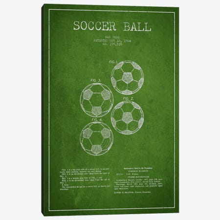 Soccer Ball Green Patent Blueprint Canvas Print #ADP2241} by Aged Pixel Canvas Artwork