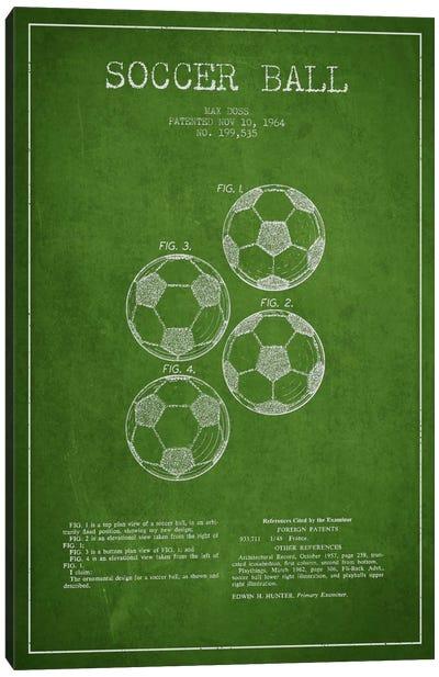 Soccer Ball Green Patent Blueprint Canvas Print #ADP2241