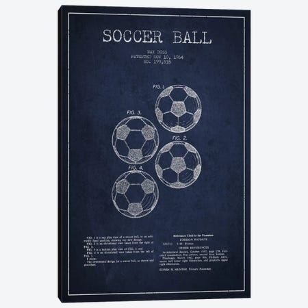 Soccer Ball Navy Blue Patent Blueprint Canvas Print #ADP2242} by Aged Pixel Canvas Wall Art