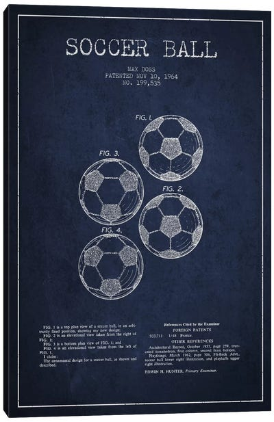 Soccer Ball Navy Blue Patent Blueprint Canvas Art Print