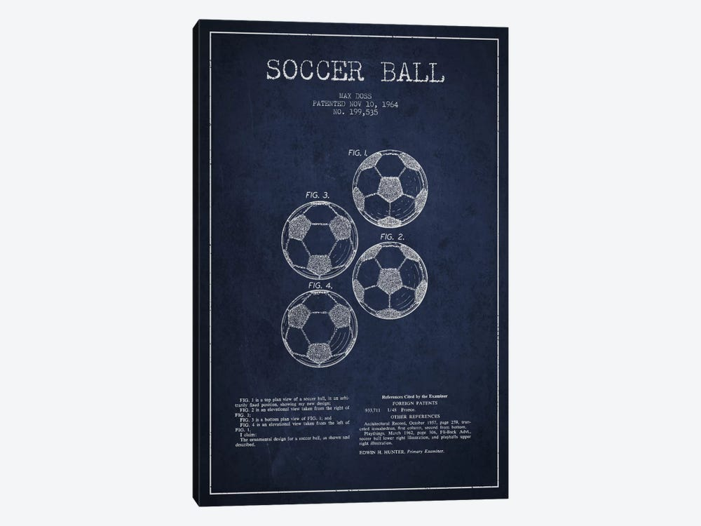 Soccer Ball Navy Blue Patent Blueprint by Aged Pixel 1-piece Canvas Art Print