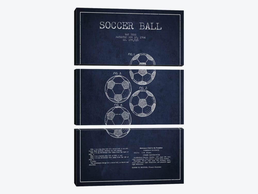 Soccer Ball Navy Blue Patent Blueprint by Aged Pixel 3-piece Canvas Print