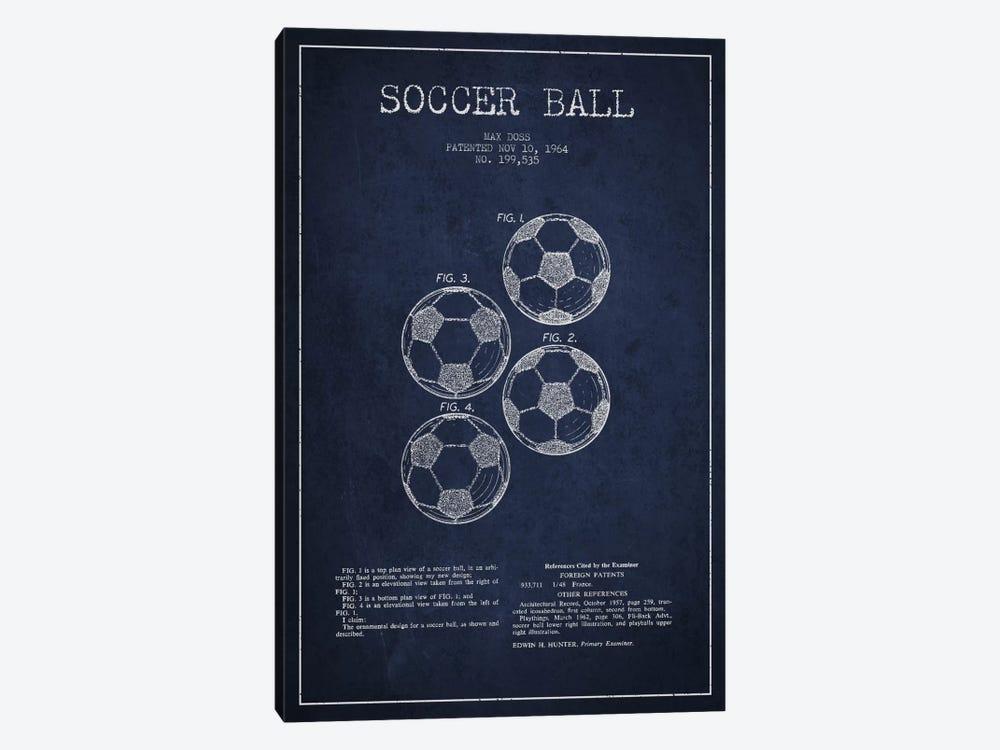 Soccer Ball Navy Blue Patent Blueprint by Aged Pixel 1-piece Canvas Art Print