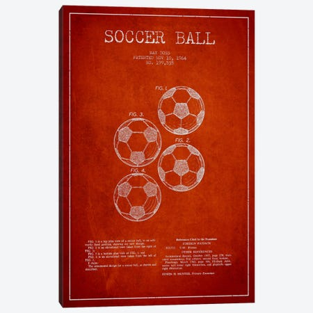 Soccer Ball Red Patent Blueprint Canvas Print #ADP2243} by Aged Pixel Canvas Art