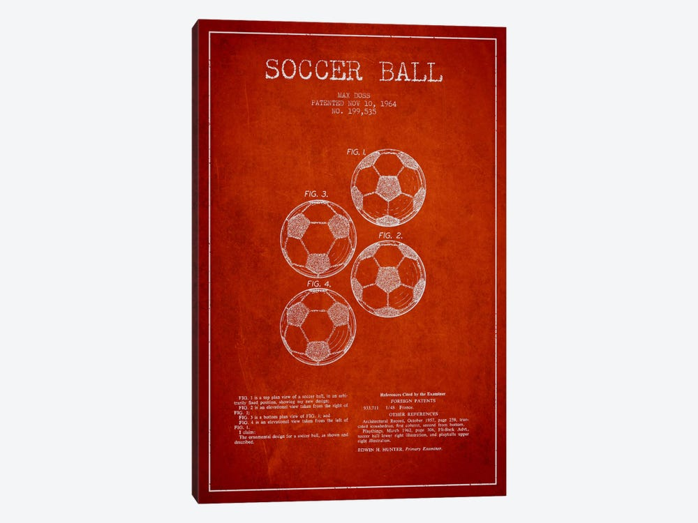 Soccer Ball Red Patent Blueprint by Aged Pixel 1-piece Canvas Art