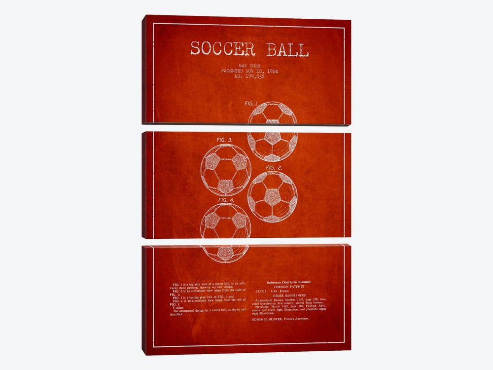 Soccer Ball Red Patent Blueprint by Aged Pixel 3-piece Canvas Wall Art