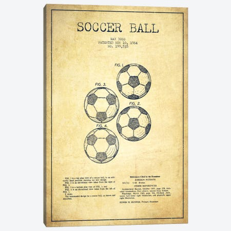 Soccer Ball Vintage Patent Blueprint Canvas Print #ADP2244} by Aged Pixel Art Print
