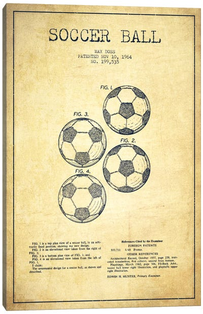 Soccer Ball Vintage Patent Blueprint Canvas Art Print