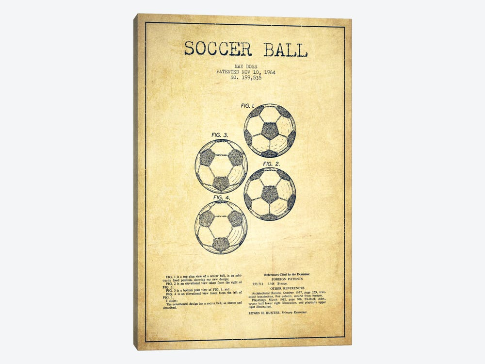 Soccer Ball Vintage Patent Blueprint by Aged Pixel 1-piece Canvas Print