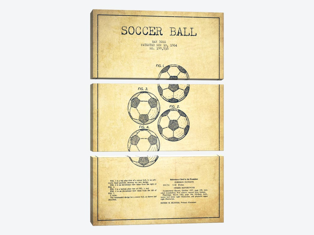 Soccer Ball Vintage Patent Blueprint by Aged Pixel 3-piece Art Print